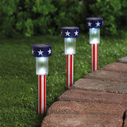 Stars and Stripes Solar Light Trio - Light the walkway with these patriotic solar lights.