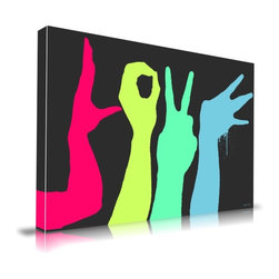 "Apt2B - 'Love' Print by Maxwell Dickson, 24"" x 36"" - This free-spirited love letter spelled out in brightly colored hand signs makes an upbeat statement on your wall in a bold and playful pop style. The dramatic silhouettes and almost fluorescent graffiti-style paint colors will give your room a fun, modern edge."