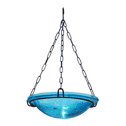 Achla - Teal Hanging Birdbath - Both reflective and beautiful, the crackled glass bowl is a great addition to your yard. Teal. Black Wrought Iron Hanging Chain included. Post not included. Construction Material: Glass. No Assembly Required. Bowl: 12.5 in. Diam. X 3 in. D (6 lbs.). 16.5 in. chain