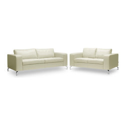 Baxton Studio - Baxton Studio Lazenby Cream Leather Modern Sofa Set - Our Lazenby Sofa Set is an urban gem: with sleek lines and versatile simplicity, it's an instant winner in our book. The Lazenby Designer Sofa Set's sofa and loveseat are made in China with sturdy, solid Dahurian Larch wood frames. S-springs and pocket springs underneath polyurethane foam provide comfort while cream bonded leather and chrome-plated steel legs give the contemporary sofa set an unmistakable urban appeal. Maintenance is fast and simple: simply wipe the surfaces with a damp cloth before using a dry cloth to wipe away any remaining moisture. The Lazenby Sofa Set is also available in black leather or as an L-shaped sectional sofa (each sold separately). Minor assembly is required.