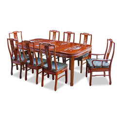"China Furniture and Arts - 80in Rosewood Mother of Pearl Motif Dining Table with 8 Chairs - This rectangle dining set is an eye-catching piece every time when you entertain. Beautifully handcrafted of solid rosewood with skillful joinery technique for long lasting durability. With special attention to detail, the entire table and chairs are intricately inlayed with mother-of-pearl flower design. The table can be extended to 80"" with two 18"" removable leaves for your convenience. Hand applied natural finish enhances the beauty of the woods grain."