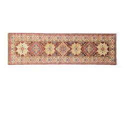 1800GetARug - Fine Kazak Hand Knotted Rug Chocolate Brown Runner Sh11169 - About Tribal & Geometric