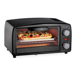 Hamilton Beach - Extra Large Black Toaster Oven Broiler - This Extra-Large Black Toaster/Oven/Broiler from Proctor-Silex easily fits four slices of toast or two personal pizzas.  It includes a bake pan and broil function for cooking and warming versatility.  It features a 15 minute timer with auto shutoff and ready bell and a drop-down crumb tray for easy cleanup.