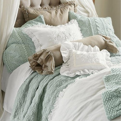 Ruffle Duvet Cover - Imagine sinking into a bed covered in the softest cotton and sophisticated linen ruffles. The feeling is warm and indulgent and waiting for you at the end of every day. Our Soft Surroundings Ruffle Bedding Collection has exquisite detailing - like gently frayed edges - to only add to that rich, quality-crafted look. Layer and coordinate with duvets, boudoir pillows, shams, bed skirts, and neck rolls. The final effect will be as pleasing to the eye as to the touch.