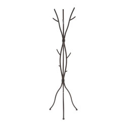 """Adarn Inc. - Artistic Brown Wood Color Coat Hat Rack Metal Tree Branch Style Hall Tree Hanger - Bring a cool and contemporary look to your home with this metal coat rack. Designed with a unique branch styling, it adds a touch of nature to any room with its presence. Topped with a brown wood-like finish, you can hang your coats, jackets, and scarves on your favorite """"tree"""" in the house."""