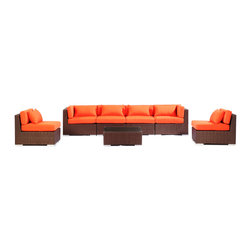 "Kardiel - Modify-It Patio Furniture Modern Outdoor Sofa Sectional Waikiki 7pc Set, Orange - Unapologetic modern seating for six is offered by the Waikiki 7-piece collection. The centerpiece is clearly the Grande' length modern 4 seat sofa. Masterfully accommodates multiple guests. Extend the limits of personal lounging time, just you and a good tablet. 2 armless chairs and tempered glass top coffee table complete the collection. The flexible nature of Modify-It modular allows for customized reconfiguring of the layout at will. The design origins are Clean European. The elements of comfort are inspired by the relaxed style of the Hawaiian Islands. The Aloha series comes in many configurations, but all feature a minimalist frame and thick, ample modern cube cushions. The back cushions are consistent in shape, not tapered in to create the lean back angle. Rather the frame itself is specifically ""lean tapered"" allowing for a full cushion, thus a more comfortable lounging experience. The cushion stitch style utilizes smooth and clean hand tailoring, without extruding edge piping. The generously proportioned frame is hand-woven of colorfast, PE Resin wicker. The fabric is Season-Smart 100% Outdoor Polyester and resists mildew, fading and staining. The ability to modify configurations may tempt you to move the pieces around... a lot. No worries, Modify-It is manufactured with a strong but lightweight, rust proof Aluminum frame for easy handling."