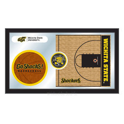 "Holland Bar Stool - Holland Bar Stool Wichita State Basketball Mirror - Wichita State Basketball Mirror belongs to College Collection by Holland Bar Stool The perfect way to show your school pride, our basketball Mirror displays your school's symbols with a style that fits any setting.  With it's simple but elegant design, colors burst through the 1/8"" thick glass and are highlighted by the mirrored accents.  Framed with a black, 1 1/4 wrapped wood frame with saw tooth hangers, this 15""(H) x 26""(W) mirror is ideal for your office, garage, or any room of the house.  Whether purchasing as a gift for a recent grad, sports superfan, or for yourself, you can take satisfaction knowing you're buying a mirror that is proudly Made in the USA by Holland Bar Stool Company, Holland, MI.   Mirror (1)"