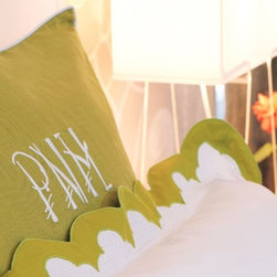 French Case with Embroidered Chopstick Monogram - I love these linens in charteuse with the Chopstick monogram.