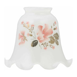 Renovators Supply - Lamp Shades White Glass Lamp Shade 2 1/4 '' fitter | 18771 - Lamp Shades: Our White Wildflower Lamp Shades are delicate and graceful and will enhance any room with soft lighting. Shade measures fitter size 2 1/4'', top diameter 2 1/16'', bottom diameter 5 1/8'', height: 4 7/16''