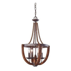 Murray Feiss Adan Chandelier - 16.38W in. Rustic Iron/Burnished Wood