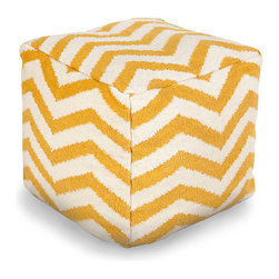 Zig Zag Pouf - Sunflower - Pale harvest colors of ivory and gold give a sun-warmed subtlety to the vivid pattern of the Zig Zag Sunflower Pouf.  A soft furnishing with a comforting yet upscale presence, this piece mingles the casual and the thoughtful when you make it a part of your bedroom, garden room, or studio.  Its delicately muted yet happy hues are at home in every season.