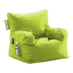 """Comfort Research - Big Joe Spicy Lime Dorm Chair in SmartMax - It's only called the Dorm Chair because our marketing team said """"The Best, Most Comfortable Chair For Dorm Rooms and Bedrooms and Family Rooms and Living Rooms and Cozy Basement Rooms and All Rooms for All Users"""" was a bit too long. Complete with a drink holder, side pocket and easy-to-haul handle, the Dorm Chair has everything you need for wherever you decide to put it."""