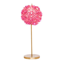 Worlds Away - Worlds Away Gold Leaf Iron Lamp with Hot Pink Capiz Shell Shade VENUS PL - Gold leaf iron lamp with hot pink capiz shell shade. Clear cord. Ul approved for one 60 watt bulb.