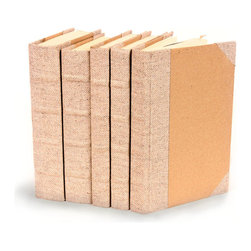 Bespoke Books - Herringbone - Set of 5 - You can, indeed, judge a book by its cover. A visually striking set of decorative tomes, the Bespoke Books - Herringbone - Set of 5 make an impressive graphic statement when placed upon a shelf in an eclectic great room, a window ledge in a home office, a fireplace mantel embellished with objects d'art, or glass-fronted armoire in a personal library.