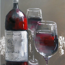 YOSEMITE HOME DECOR - Wine and Two Glasses (1.5 inch stretcher) Art Painted on Canvas - Wine & Two Glasses is a beautifully hand painted, cuisine piece that will bring class and tranquility to any room. Its relaxing colors and background with glistening silver throughout it add certain serenity. The wine bottle has many deep reds that blend together wonderfully, as well as the wine in the two glasses. This decorative art is soothing, and when viewing it, you can truly say that the glasses are half full.