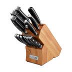 """Ragalta - 13-Piece Knife Block Set - Pure Life 13pc Knife Block Set includes (1) 8"""" Chef knife, (1) 7"""" Santoku knife, (1) 8"""" Bread knife, (1) 5"""" Utility knife, (1) 3.5"""" Paring knife, (6) 5"""" Forged Steak knives. (1) Meat Fork, (1) Rubber Wood Block."""