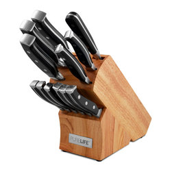 "Ragalta - 13-Piece Knife Block Set - Pure Life 13pc Knife Block Set includes (1) 8"" Chef knife, (1) 7"" Santoku knife, (1) 8"" Bread knife, (1) 5"" Utility knife, (1) 3.5"" Paring knife, (6) 5"" Forged Steak knives. (1) Meat Fork, (1) Rubber Wood Block."