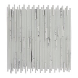"""Breeze Stylus Carrera Ice Pattern Glass Tiles, Sample - sample-BREEZE STYLUSCARRERA ICE PATTERN 1/8""""X RANDOM1/4 SHEET GLASS TILES SAMPLE You are purchasing a 1/4 sheet sample measuring approximately 6"""" x 6"""". Samples are intended for color comparison purposes, not installation purposes.-Glass Tiles -"""