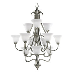 Progress Lighting - Progress Lighting P4419-09 Torino Twelve-Light Three-Tier Chandelier with Etched - *Twelve light up lighting three tier chandelier with etched white oversized, bell-shaped glass bowl.