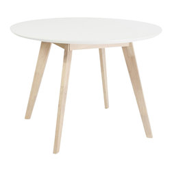 """Eurostyle - Eurostyle Montana 42"""" Round Dining Table in White and Nat - Eurostyle - Dining Tables - 90180WHT - Sometimes you want pieces that don't make a fuss. That requires simplicity of design that puts function first. The Montana collection is a perfect example. White tops and natural rubber wood legs and frames may not make the boldest statement�until you want to use them."""
