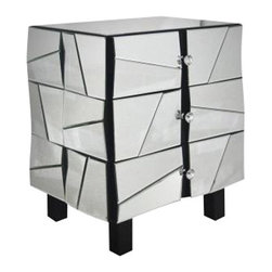 Modrest - Modrest Mirrored Night Stand - Beveled Mirror Surface