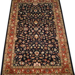 "ALRUG - Handmade Dark Blue Persian Mahal Rug 3' 1"" x 5' 3"" (ft) - This Pakistani Mahal design rug is hand-knotted with Wool on Cotton."
