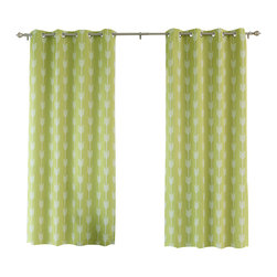 """Best Home Fashion - Arrow Print Room Darkening Grommet Top Curtain 84""""L - 1 Pair, Green Tea - Our simple and modern Arrow print curtains are a great way to brighten up any home."""