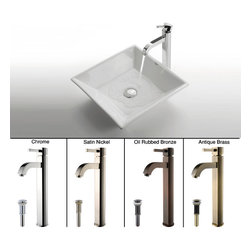 Kraus - Kraus White Square Ceramic Sink and Ramus Faucet Chrome - *Add a touch of elegance to your bathroom with a ceramic sink combo from Kraus