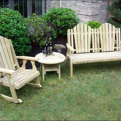 Fifthroom - Treated Pine Curveback Bench and Rocker Group - You'll relish this rustic rocker and bench set: