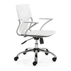 Zuo Modern - Trafico Office Chair White - Bring a touch of elegance and style in your office with our Trafico Office Chair. This chair is made from solid steel chrome frame, leatherette sling seat and arm pads, with a chrome base with adjustable height and rolling casters allow you to easily move it from room to room. It's the perfect chair to compliment any office.