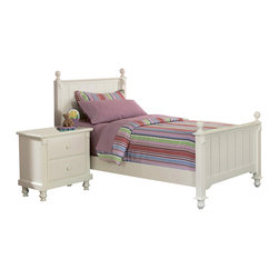 Homelegance - Homelegance Pottery 2-Piece Twin Panel Bedroom Set in White - Distinguished by matching slat-detailed head and footboard, bedpost finials and matching bun feet, beds like these will always have a widespread appeal amongst folks who see home as where the heart is. A white finish completes the look and appeal of the Pottery white panel bed.