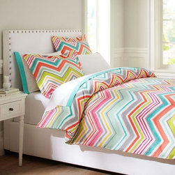 Zig N Zag Duvet Cover + Sham - A rainbow of colors zigs and zags its way across pure cotton percale for bedding with standout style.