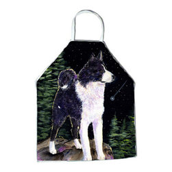 Caroline's Treasures - Starry Night Karelian Bear Dog Apron - Apron, Bib Style, 27 in H x 31 in W; 100 percent  Ultra Spun Poly, White, braided nylon tie straps, sewn cloth neckband. These bib style aprons are not just for cooking - they are also great for cleaning, gardening, art projects, and other activities, too!