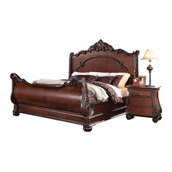 "Acme - 5-Piece Abramson Collection Cherry Finish Wood Decorative Carving Bedroom Set - 5-Piece Abramson collection cherry finish wood decorative carving headboard and footboard queen bedroom set. This set includes the queen bed with tufted headboard and footboard, nightstand, dresser, mirror. Queen bed measures 72"" H to the top of the headboard. Nightstand measures 26"" x 16"" x 28"" H. Dresser measures 64"" x 16"" x 34"" H. Mirror measures 39"" x 49"". Chest measures 39"" x 16"" x 52"" H. Some assembly required."