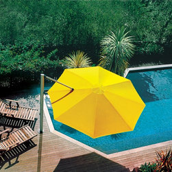 Shademaker Sirius Cantilever Umbrella - The Sirius Cantilever Umbrella from Shademaker debuted in 1998 and helped establish the company as the premier manufacturer of outdoor commercial and residential umbrellas. This innovative design rotates 360°and tilts to follow the sun.  When not in use, the Sirius Cantilever Umbrella folds back to the mast in a clean, compact manner.