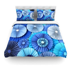 """Kess InHouse - Heidi Jennings """"Blue Lagoon"""" Aqua Navy Cotton Duvet Cover (King, 104"""" x 88"""") - Rest in comfort among this artistically inclined cotton blend duvet cover. This duvet cover is as light as a feather! You will be sure to be the envy of all of your guests with this aesthetically pleasing duvet. We highly recommend washing this as many times as you like as this material will not fade or lose comfort. Cotton blended, this duvet cover is not only beautiful and artistic but can be used year round with a duvet insert! Add our cotton shams to make your bed complete and looking stylish and artistic! Pillowcases not included."""