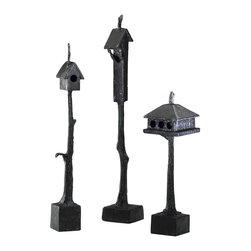 Cyan Design - Cyan Design Medium Bird House Sculpture - This Cyan Design bird house sculpture features a simple tree frame seated on a classic box shaped base. A lone birdhouse is seated at the top of this cast iron sculpture, with a delightful Bronze finish for a classic look.