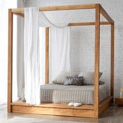 Mash Studios - PCHseries Canopy Bed | Mash Studios - Named after the beautiful Pacific Coast Highway, the PCHseries reflects the organic and natural feel of the California coast. With perfect simplicity in mind, only the necessary features are included. The solid wood PCHseries Canopy Bed features square posts with no visible hardware.  Crafted with plantation grown solid teak and finished with natural oils, the PCHseries Canopy Bed has a relaxed, yet refined aesthetic. A secluded place to rest with a minimalist approach. The bed joins tightly together with ultra clean lines, while the solid teak construction has a presence of its own.