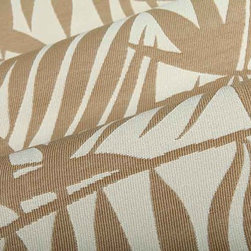 Palm Frond Outdoor Upholstery Fabric in Cocoa Tan - Palm Frond Outdoor Upholstery Fabric in Cocoa Tan has a tropical pattern perfect for the patio or a themed interior design. Durable and ready for high traffic, this American made 100% High UV Polyester has a width of 54″ and a repeat of 16″ X 16″