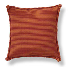 Grandin Road - Sola Pillow - Rust-colored throw pillow with matching double-corded trim and knotted corners. Cover made from ribbed 100% yarn-dyed cotton. Hidden zipper. Polyfill insert included. Spot clean. Warm up your seating with the Sola throw pillow's rust-hued, ribbed texture accented by thickly knotted corners.  .  .  .  .  . Imported.