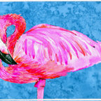 Caroline's Treasures - Flamingo Kitchen Or Bath Mat 24X36 - Kitchen / Bath Mat 24x36 - 24 inches by 36 inches. Permanently dyed and fade resistant. Great for the Kitchen, Bath, outside the hot tub or just in the door from the swimming pool.    Use a garden hose or power washer to chase the dirt off of the mat.  Do not scrub with a brush.  Use the Vacuum on floor setting.  Made in the USA.  Clean stain with a cleaner that does not produce suds.