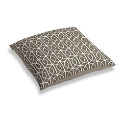 Taupe Modern Trellis Custom Floor Pillow - A couch overflowing with friends is a great problem to have.  But don't just sit there: grab a Simple Floor Pillow.  Pile em up for maximum snugging or set around the coffee table for a casual dinner party. We love it in this rounded trellis in taupe and white on soft lightweight line. Your gateway to a chic modern look.