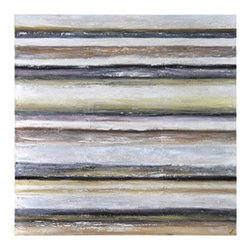 Ren-Wil - Ren-Wil Silent Reality Wall Art - This trendy hand painted piece features heavily textured warm colors with hints of metallic and high gloss.