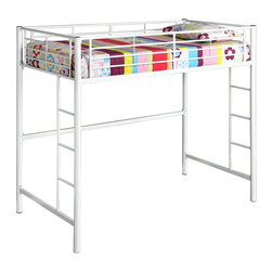 Walker Edison - Walker Edison Sunrise Metal Twin/Loft Bunk Bed - White X-HWLOTB - This simple, yet contemporary twin-over-loft bunk bed conveys chic style with clean lines and finish. A steel-crafted frame with powder coated finish promises stability and function. Designed with safety in mind, this bunk bed includes full length guardrails and two integrated ladders. This bed is ideal for space-saving needs and accommodates a variety of options below the loft.Features:&#8226: Stylish, contemporary design&#8226: Supports 250 lbs.&#8226: Attractive powder-coated finish&#8226: Accommodates a variety of options below loft&#8226: Conforms to the latest consumer product safety standards&#8226: Support slats included, no box spring needed&#8226: Ideal for space-saving needs&#8226: Maximum recommended upper mattress thickness of 9 in.&#8226: Does NOT include mattresses or bedding&#8226: Ships ready-to-assemble with necessary hardware and tools&#8226: Assembly instructions included with toll-free number and online support