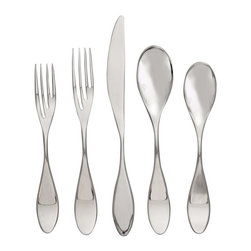 Paddle 5-piece Place Setting - A rather curious design, each utensil is almost asymmetrical, appearing as if it's been twisted in the middle to create a droplet effect. The deviation in the set comes in the form of the slightly sinister-looking fork prongs. I might find myself stabbing my food with it.