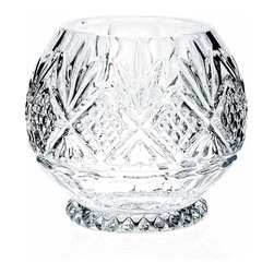 """Godinger Silver - Dublin Crystal Rose Bowl - The fanciful cut pattern, gracefully encircling the bowl takes center stage when placed on the dinner table or desk. In this uniquely rounded bouquet bowl, clear crystal provides the perfect backdrop for the popular Dublin motif. Fill with a bouquet of fresh-cut flowers and roses, or display as is to be admired for its singular beauty. * Measures: 6""""D"""