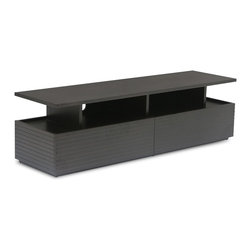 Bryght - Mid-Century Modern TV Unit In Black Wood | Strip Mid-Century Modern Furniture - The Strip TV unit boasts a visually widening slim groove sleek design with modern undertones. Beautiful wood construction and an ebony finish makes for a pleasing and aesthetically designed solution for your media storage needs.