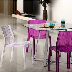 "Zuo Modern Ruffle Transparent Dining Chair - Set of 4 - Whether your favorite dining space is outdoors or indoors the Zuo Modern Ruffle Transparent Dining Chair - Set of 4 will add a touch of contemporary style. Made from strong sturdy polycarbonate this dining chair is UV-treated for outdoor use and comes in your choice of transparent colors. This chair is also stackable for easy convenient storage. About Zuo ModernZuo Modern designs products with a simple philosophy in mind: clean modern shapes combined with classic colors. All Zuo Modern products are put through rigorous processes to ensure quality materials and production ensuring that your item reaches you in top condition. Yet Zuo pieces are modestly priced for today's consumers. Zuo works to inspire a sense of value and worth along with the significance of aesthetics. If it passes the """"Wow this feels solid"""" test along with the """"This looks amazing"""" and the """"What a great price"""" test you know it's a Zuo product."