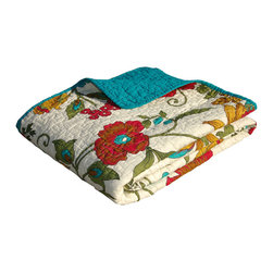 None - Clearwater Quilted Throw - Vibrant flowered vines grace this updated tropical quilt style in gold, olive green, red and turquoise on an antique white ground. Made of 100-percent cotton, this throw features fabric bound edges and an all-over turquoise reverse.