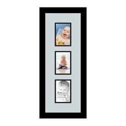 ArtToFrames - ArtToFrames Collage Photo Frame  with 3 - 3.5x5 Openings - This classic Satin Black, 1.25 inch wide collage frame, comes equipped with a multiple opening display for 3 - 3.5x5 artwork of your choice. This collage is part of a vast collage frame selection and boasts a broad line of carefully constructed frames at a price you can be happy about! Built from hand and created to suit your artwork ensuring you 3 - 3.5x5 art will fit perfectly. Bordered in a striking Satin Black, smooth frame and surrounded by a contemporary Baby Blue mat, the collage arrangement certainly showcases your photographs, and beloved memories in an entirely incredible and new way. This collage frame comes protected in Styrene, ready with appropriate hardware and can be presented within a few seconds. These premium quality and genuine wood-based collage frames vary in style and size specifics; all in contemporary and modern design. Mats are available in a bevy of color tones, openings, and shapes. It's time to tell your story! Preserving your memories in an original and imaginative fresh way has never been easier.